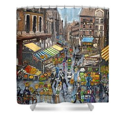 Street Scene Market Shower Curtain