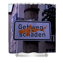 Street Sign With Graffiti Shower Curtain