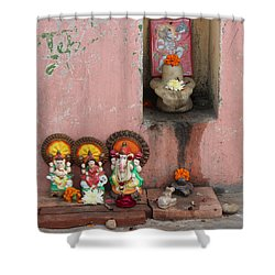 Street Temple, Haridwar Shower Curtain by Jennifer Mazzucco