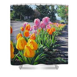 Street Tulips Shower Curtain