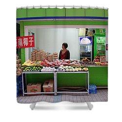 Street Vendor  Beijing Shower Curtain by Thomas Marchessault