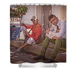 Shower Curtain featuring the photograph Street Vendors In Cienfuegos Cuba by Joan Carroll