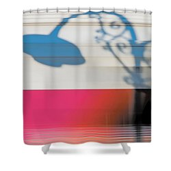 Streetlamp Shadow On Moving Train Shower Curtain by Gary Slawsky