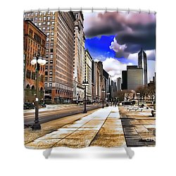 Shower Curtain featuring the digital art Streets Of Chicago by Kathy Tarochione
