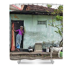 Streets Of Kochi Shower Curtain by Marion Galt
