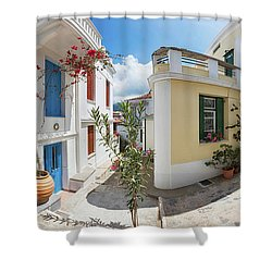 Streets Of Skopelos Shower Curtain by Evgeni Dinev
