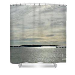 Striated Sky Over Casco Bay Shower Curtain