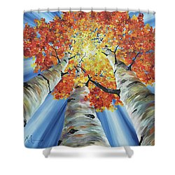 Shower Curtain featuring the painting Striking Fall by Melinda Cummings
