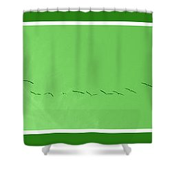 String Of Birds In Green Shower Curtain