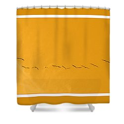 String Of Birds In Orange Shower Curtain