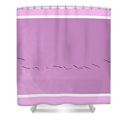 String Of Birds In Rose Pink Shower Curtain