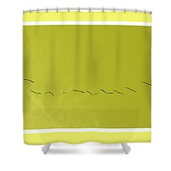 String Of Birds In Yellow Shower Curtain