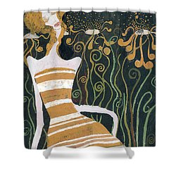 Shower Curtain featuring the painting Stripe Dress by Maya Manolova