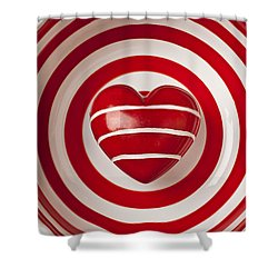 Striped Heart In Bowl Shower Curtain by Garry Gay