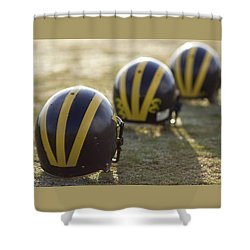 Striped Helmets On A Yard Line Shower Curtain
