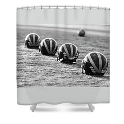 Shower Curtain featuring the photograph Striped Helmets On The Field by Michigan Helmet
