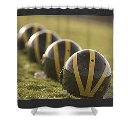 Striped Helmets On Yard Line Shower Curtain