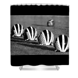 Striped Helmets With Football Shower Curtain