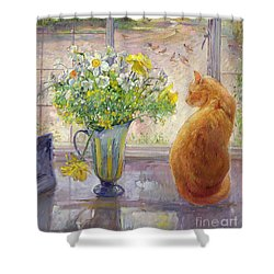 Striped Jug With Spring Flowers Shower Curtain by Timothy Easton