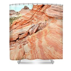 Shower Curtain featuring the photograph Striped Sandstone Along Park Road In Valley Of Fire by Ray Mathis