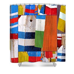 Stripes And Solid Buoys  Shower Curtain
