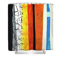 Shower Curtain featuring the mixed media Stripes by Elena Nosyreva