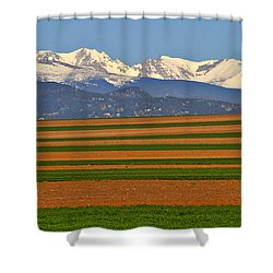 Stripped Fields And Balloon Shower Curtain by Scott Mahon