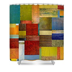 Strips And Pieces L Shower Curtain by Michelle Calkins