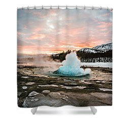 Strokkur Winter Blowup In Front Of Sunset Shower Curtain