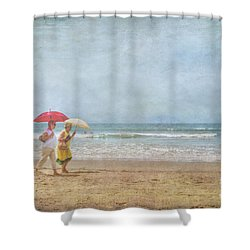 Shower Curtain featuring the photograph Strolling On The Beach by David Zanzinger