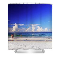 Shower Curtain featuring the photograph Strolling The Beach by Gary Wonning