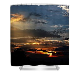 Struggling Sun Shower Curtain by James F Towne
