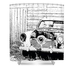 Studebaker Black And White Shower Curtain