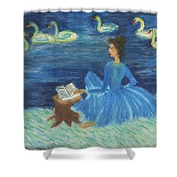 Study For Swan Lake Reader Shower Curtain by Sushila Burgess