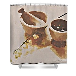 Shower Curtain featuring the digital art Study In Brown by Alexis Rotella