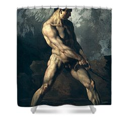 Study Of A Male Nude Shower Curtain by Theodore Gericault