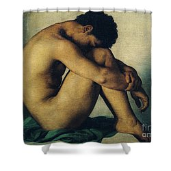 Study Of A Nude Young Man Shower Curtain by Hippolyte Flandrin