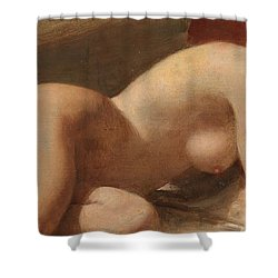 Study Of A Reclining Female Nude Shower Curtain by EW Wyon