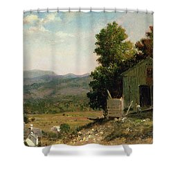 Study Of Old Barn In New Hampshire Shower Curtain by George Loring Brown
