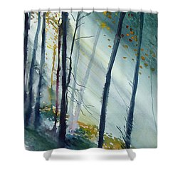 Shower Curtain featuring the painting Study The Trees by Allison Ashton