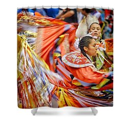 Fancy Shawl Dancers 3 Shower Curtain by Clarice Lakota
