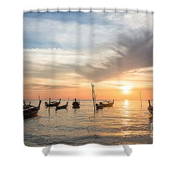 Stunning Sunset Over Wooden Boats In Koh Lanta In Thailand Shower Curtain