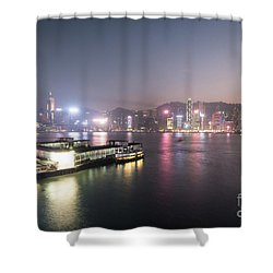 Stunning View Of The Twilight Over The Victoria Harbor And Star  Shower Curtain