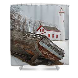 Sturgeon Point Lighthouse Shower Curtain by Michael Peychich