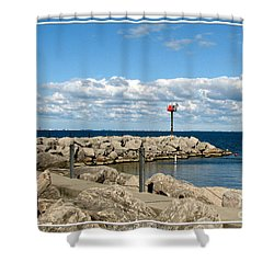 Sturgeon Point Marina On Lake Erie Shower Curtain by Rose Santuci-Sofranko