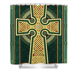 Stylized Celtic Cross In Green Shower Curtain