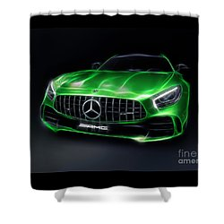 Stylized Illustration 2017 Mercedes Amg Gt R Coupe Sports Car Shower Curtain