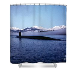 Shower Curtain featuring the painting Submarine-us-navy-uss-kentucky by Celestial Images