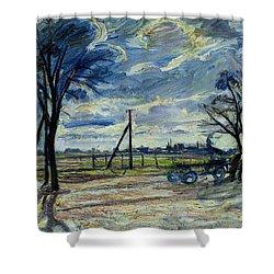 Suburban Landscape In Spring  Shower Curtain by Waldemar Rosler