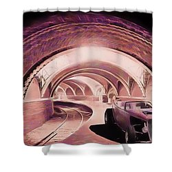 Subway Racer Shower Curtain by Michael Cleere